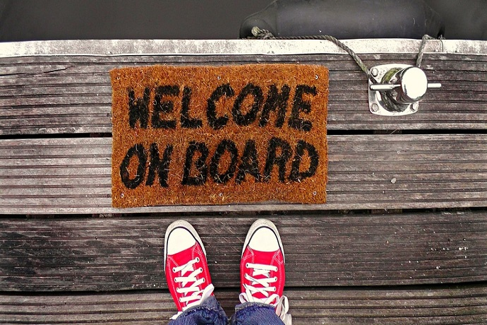 Enrol on a Stonebridge course. Sign saying welcome on board