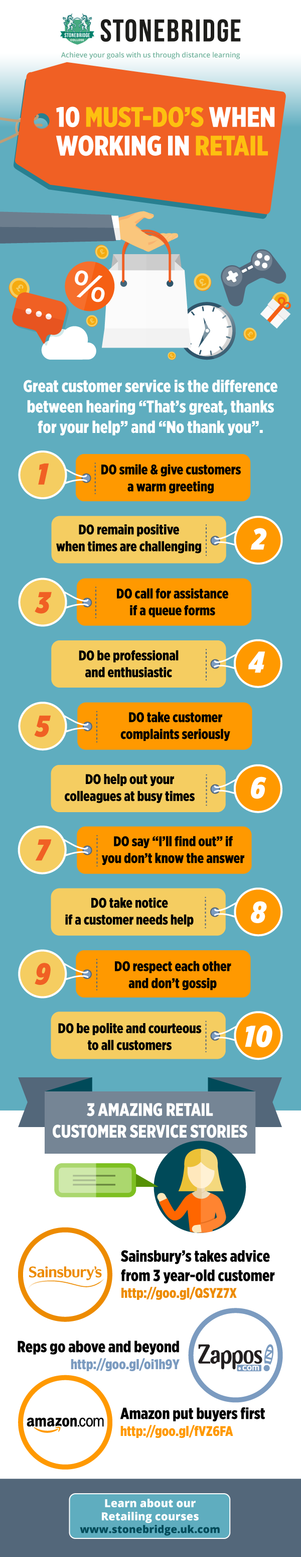 Give great customer service in retail infographic