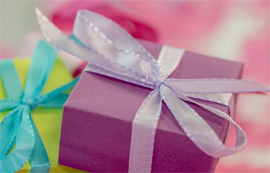 Brightly coloured present boxes.