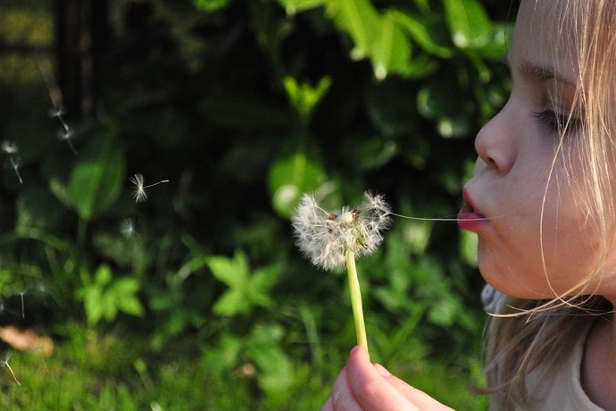 Autism in girls. Girl blowing dandylion.