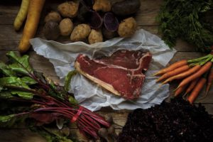 Allotment ideas. Vegetables and meat on a table