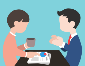 Interview tips. Two people talking in an interview