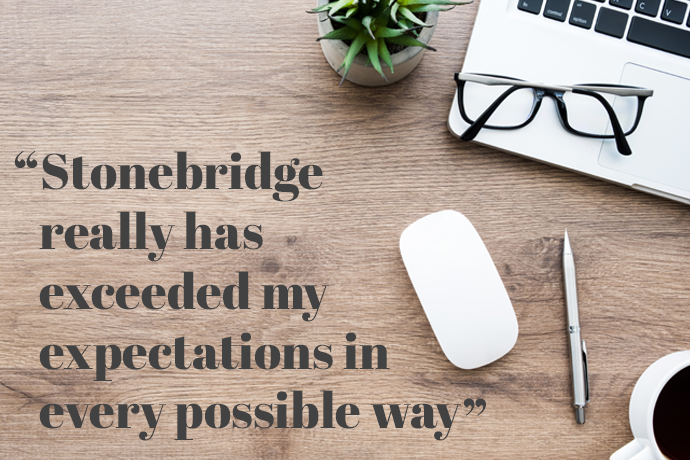 Quotation from Access to HE Diploma graduate: 'Stonebridge really has exceeded my expectations in every possible way'. Study desk with laptop, coffee, plant and glasses in the background.