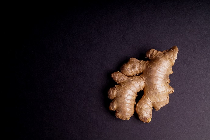 Fresh healthy ginger Root herbal isolated on Black