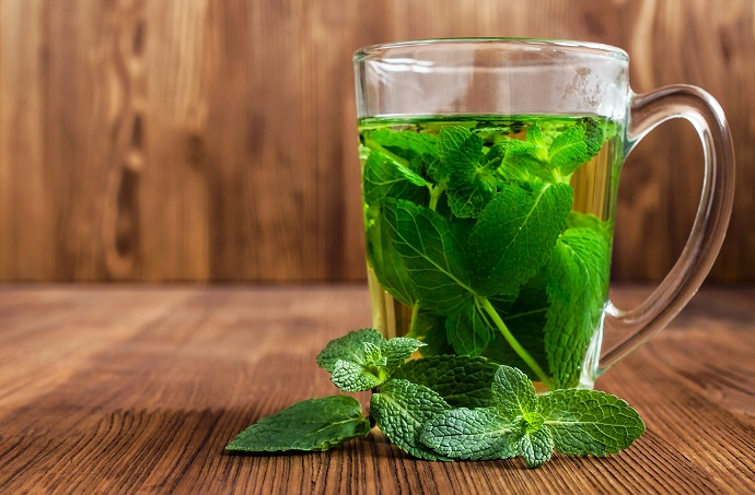 Mint herbal tea in a glass cup on wooden tale herbs