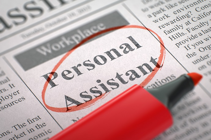 Personal Assistant - Small Ads of Job Search in Newspaper, Circled with a Red Highlighter. Blurred Image. Selective focus. Concept of Recruitment. 3D Rendering.