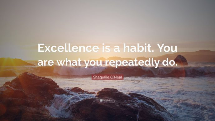 'Excellence is a habit. You are what you repeatedly do.' - Shaquille O'Neal motivational quote for online education.