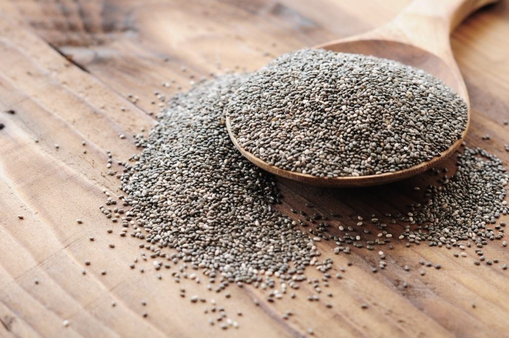 Chia seeds on a spoon.
