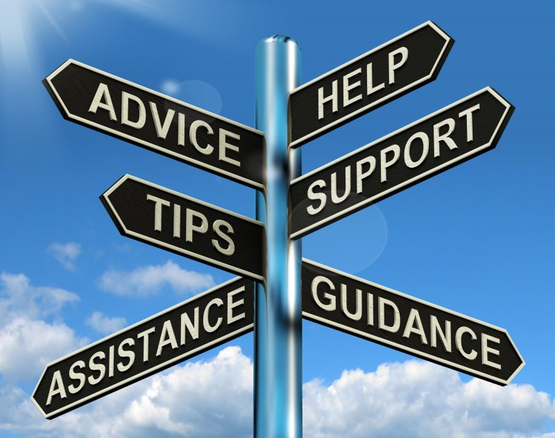 Support, guidance and advice signpost