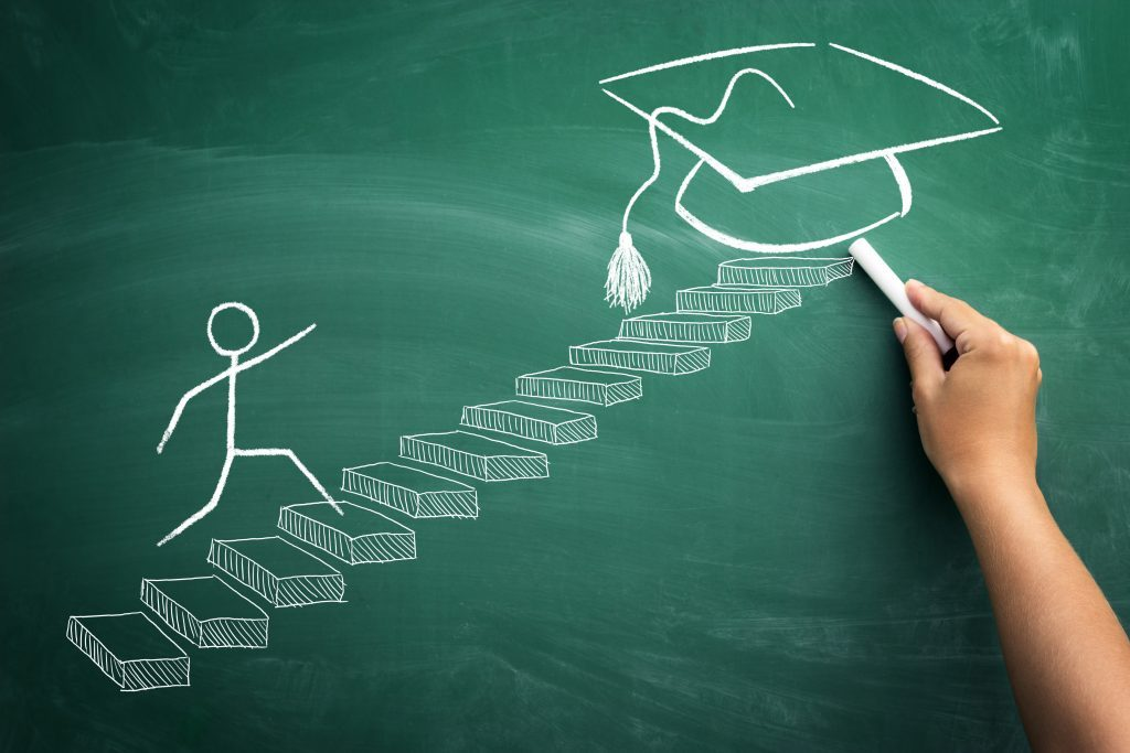 Chalkboard image with stickperson walking up steps to get to a graduation mortarboard. Qualification concept.
