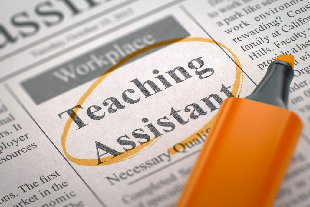 Newspaper advertisement for a teaching assistant job vacancy, The text has been highlighted by an orange highlighter pen.