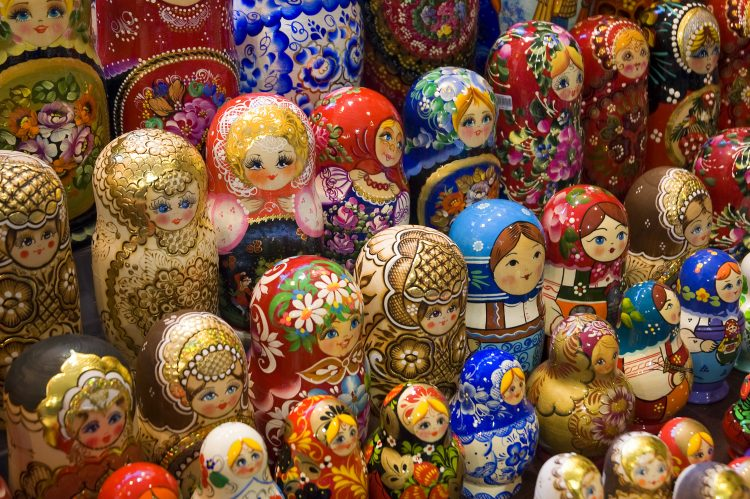 Rows of Russian dolls used to represent the amount of Russian speakers.