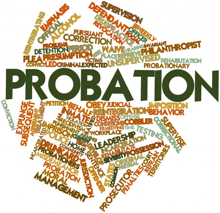 Probation word cloud with associated words