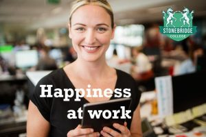 Woman happy at work.