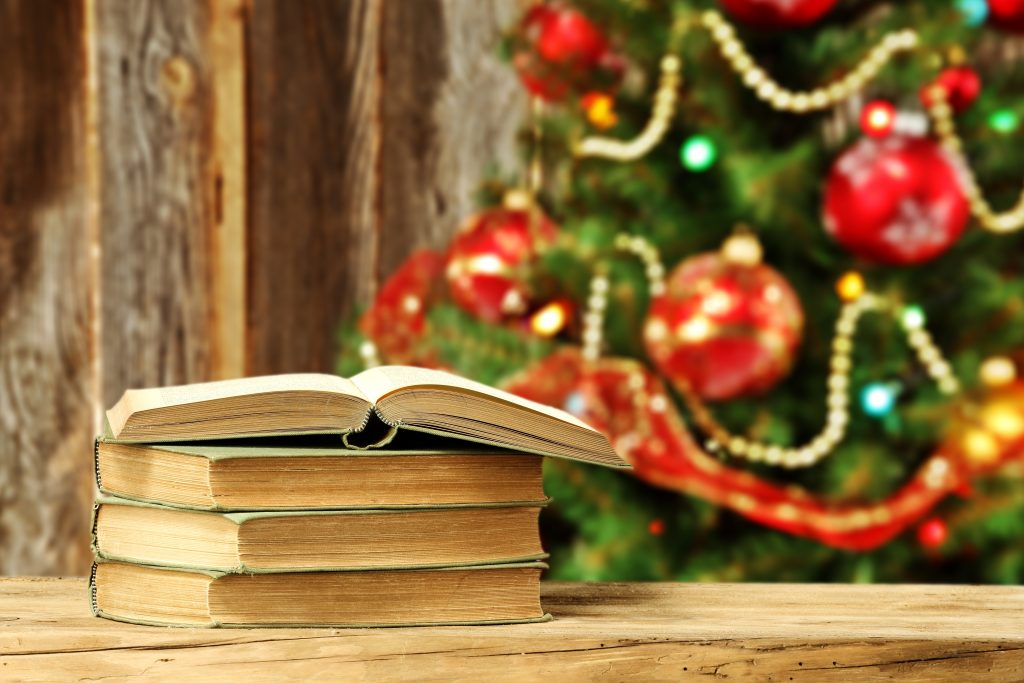 xmas tree and wooden wall with books
