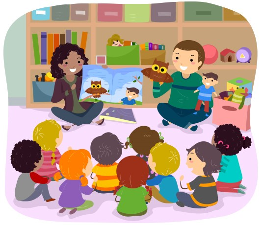 Cartoon of story time at school using puppets.
