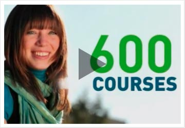 Woman with 600 courses text in background